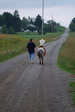 Photo: Happy trails...Wes on his pony, Edgar Allen Poe-ny.
