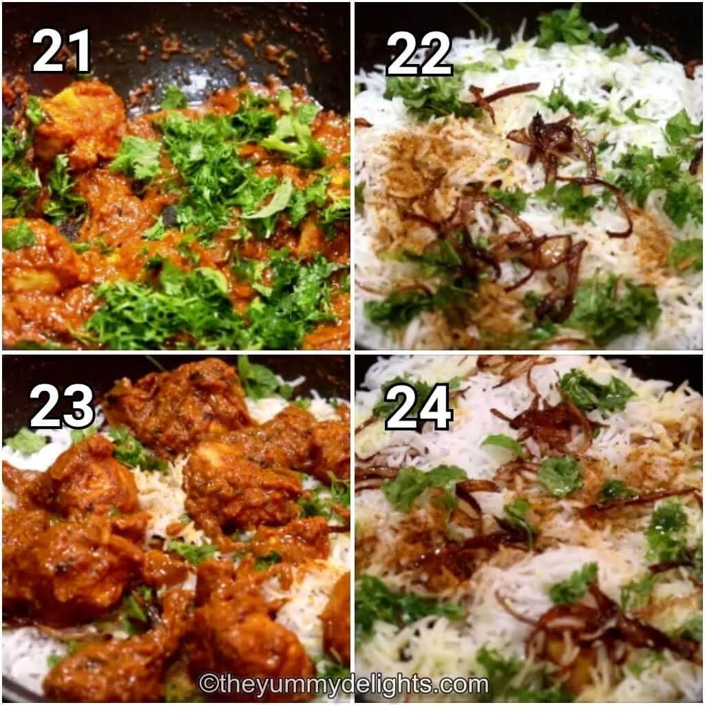 step by step image of layering the chicken tikka masala & rice to make the chicken tikka biryani