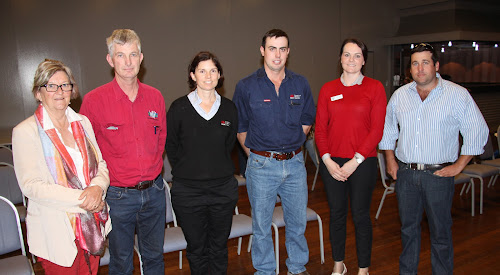 NSW Farmers Narrabri branch treasurer Liz Tomlinson and president Matt Norrie flank the guest speakers at Thursday's forum David Edmondson (Western Land Planning, Dubbo), Frances Wright (Local Land Services sustainable land management office, Gunnedah), Caleb Doyle (Local Land Services sustainable land management office, Moree) and Adair Moar (NSW Farmers environment policy director).