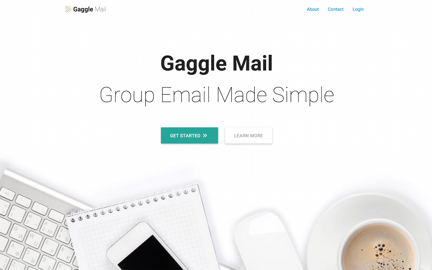 Gaggle Mail homepage at launch.