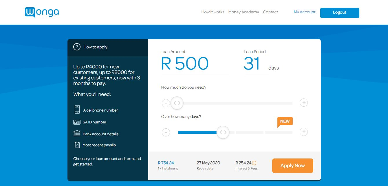 Wonga loans homepage