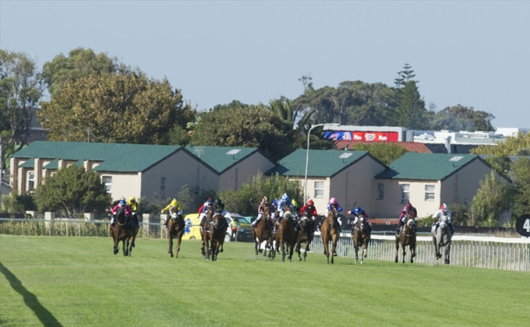 Horses in the home straight during the Sun Met 2017 at Kenilworth Race Course on January 28, 2017 in Cape Town, South Africa.