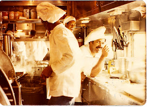Photo: In the galley with the cooks. Cigarettes and all !