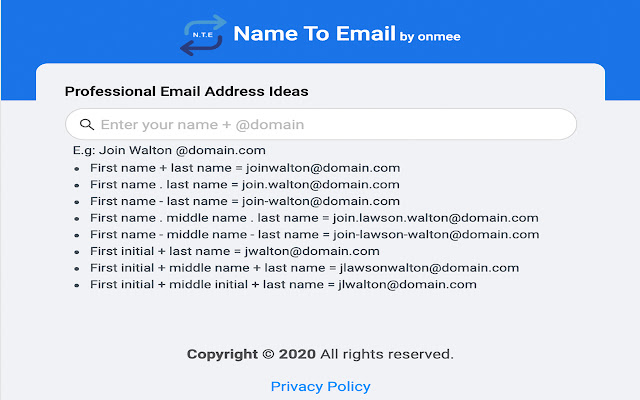Name to Email by Onmee