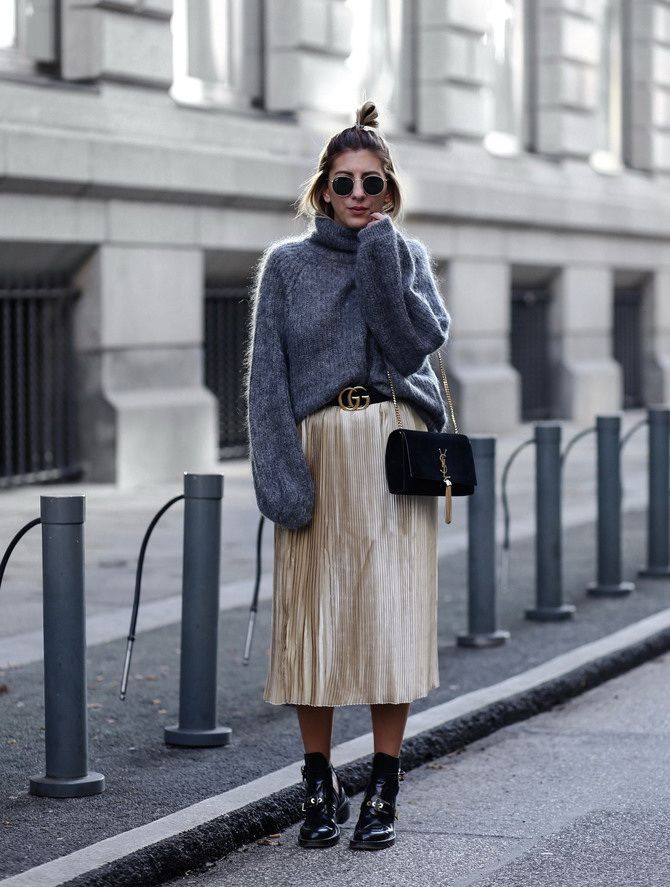 Sweater and a skirt: the most fashionable winter combinations 27