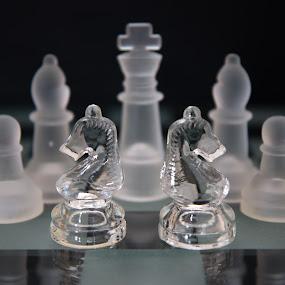 chess by Twan Konings - Black & White Objects & Still Life ( tabletop, horse, glass, white, chess, black )