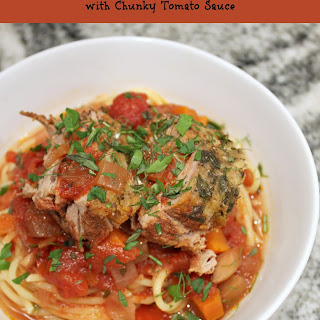 Slow Cooker Parmesan-Herb Pork Loin with Chunky Tomato Sauce.