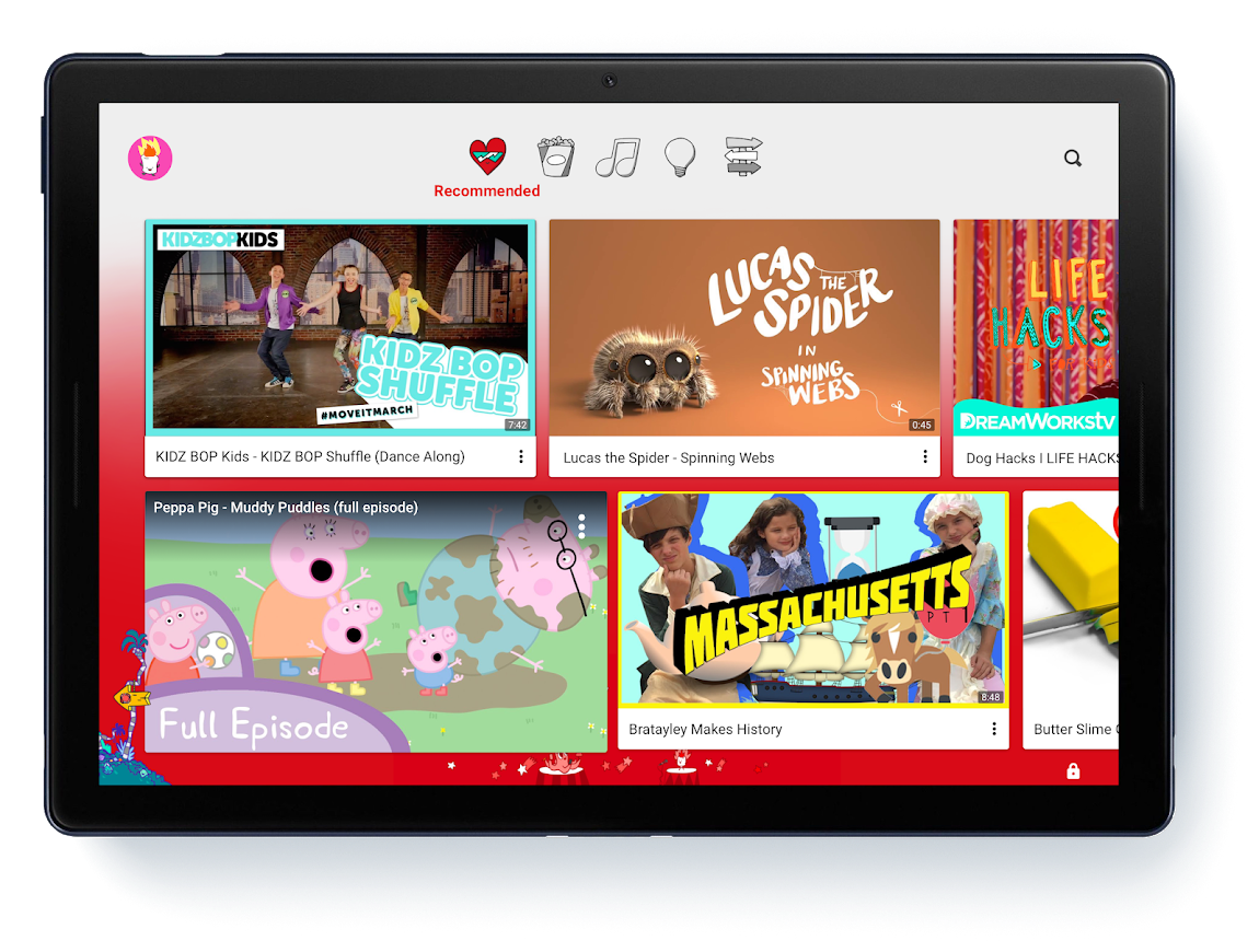 The YouTube Kids app on a tablet
