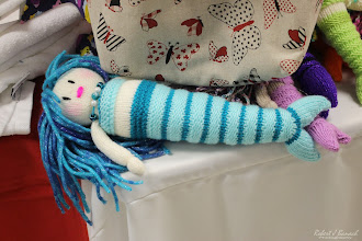 Photo: Knitted blue mermaid at the crazygamma booth at Delmarva Wool & Fiber Expo 2015 (Fall) | Photograph Copyright Robert J Banach #oceancitycool