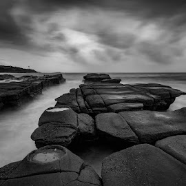 Gravelly Beach, NSW by Mel Stratton - Black & White Landscapes ( norah head, sky, australia, clouds, water, soldiers beach, sea, gravelly beach, rock, nsw, waterscape, beach, monochrome, landscape )