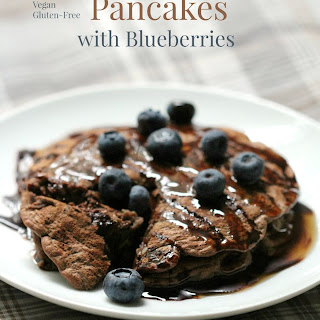 Chocolate Zucchini Pancakes With Blueberries