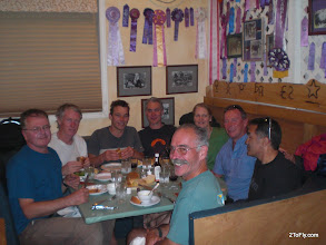 Photo: Late dinner at Burns after chasing Lindsay 160km