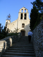 Photo: And up we go to this small church, the Romanesque chapel of St Côme & St Damien, we think.