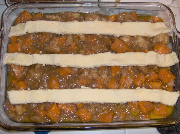 Spread some more butter on top of the browned strips on top of the...