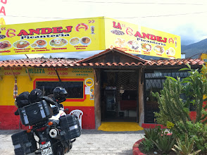 Photo: Our first roadside food stop. This style of food is ubiquitous in Ecuador.
