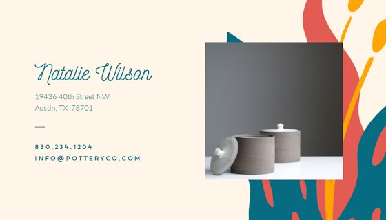 Pottery Co. Back - Business Card Template