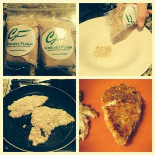 Cricket Flour Parmesan Breaded Chicken.