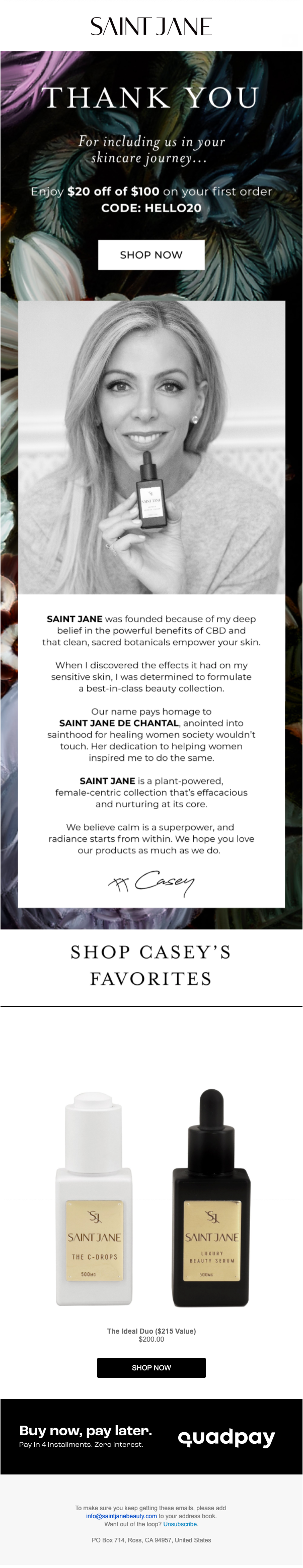 Saint Jane Beauty's first welcome email.