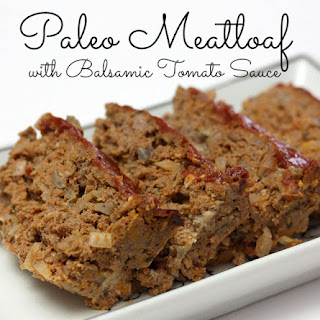 Paleo Meatloaf with Balsamic Tomato Sauce.