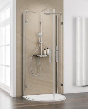 Paroi de douche demi-lune avec portes pivotantes, 90 x 110 cm ou 82 x 96 cm