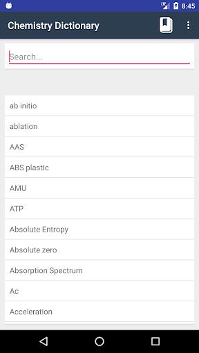 Screenshot 1 Chemistry Dictionary