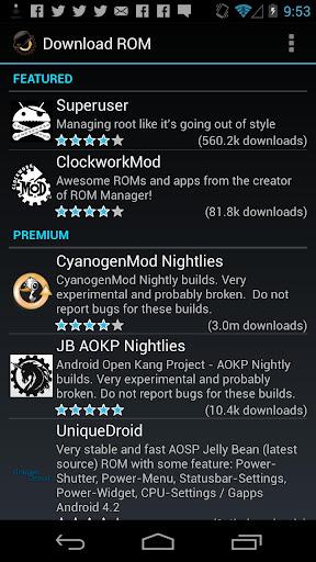 ROM Manager screenshot 2