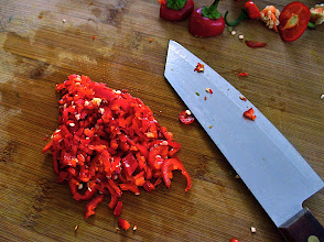 Photo: chopped red chilli pepper for plum sauce