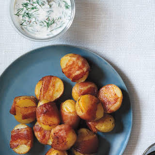 Bacon-Wrapped Potatoes With Creamy Dill Sauce.
