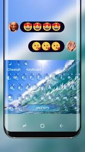 Blue Ocean Theme Keyboard Wave Wallpaper - náhled