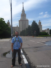 Photo: Matt in front of the Moscow University main building