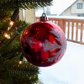Christmas is here by Kerry Demandante - Public Holidays Christmas ( red, snowflake, twinkle, ornament, holidays, snow, winter, december, season, christmas, bauble, lights )