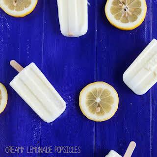Sweet and Creamy Lemonade Popsicles.