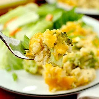 Skinny Cheesy Chicken and Broccoli-Rice Casserole.