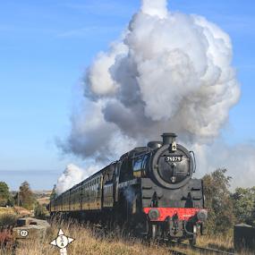 Steam Locomotive by Steve BB - Transportation Trains ( buffers, locomotive, steam train, smoke, track, landscape, train )