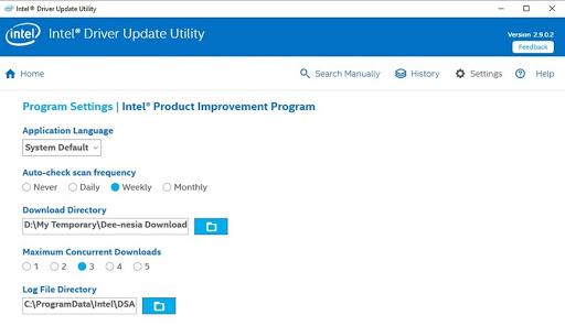 Pengaturan Intel Driver Update Utility