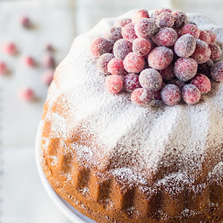Orange Spice Cream Cheese Bundt Cake with Sugared Cranberries