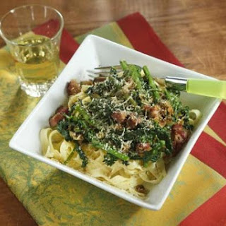 Recipe For Tagliatelle With Pancetta, Broccoli Rabe, And Goat Cheese