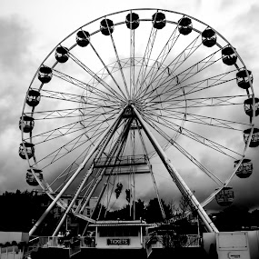 Ferris Wheel by Doug Faraday-Reeves - Black & White Buildings & Architecture ( ferris wheel, clouds )