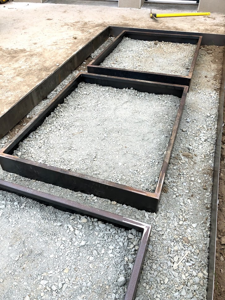 rangée de bordure en acier corten