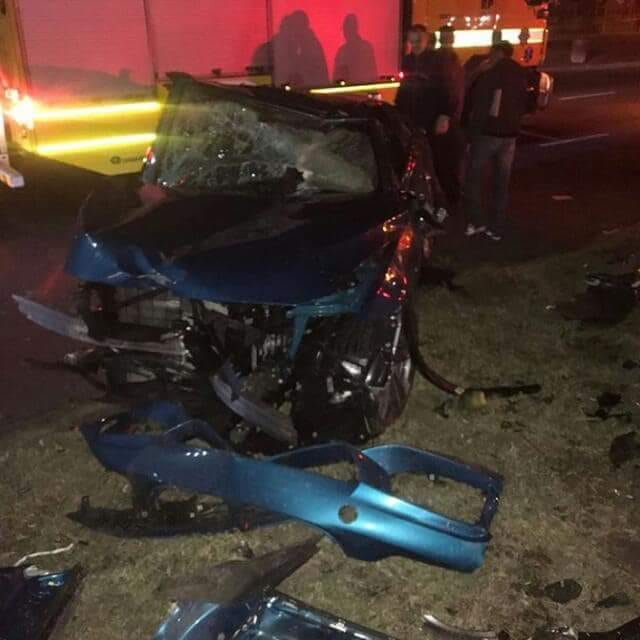 The wreckage of a Durban car crash that left Sbahle Mpisane critically injured on August 9, 2018.