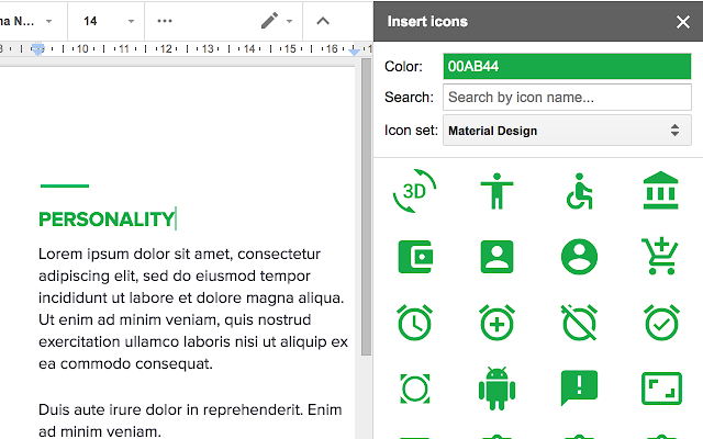 Insert Icons For Docs Google Docs Add On