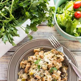 Slow Cooker Fresh Herb Chicken Mushroom Leek Casserole.