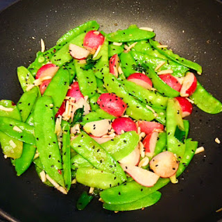 Snow Pea and Radish Stir Fry with Almonds.
