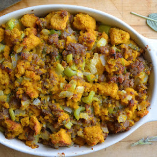 Pumpkin Cornbread Stuffing with Country Sausage and Sage