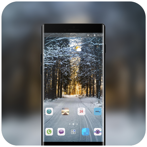 Nature theme mountain winter forest covered road icon