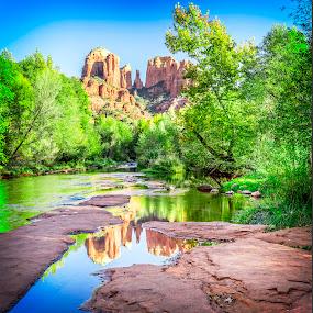 Red Rock Crossing by Al Judge - Landscapes Waterscapes ( fall, arizona, sedona, oak creek, rr crossing )