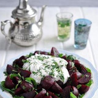 Moroccan Beetroot & Herb Salad With Yoghurt Dressing.