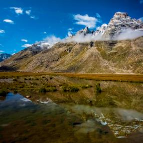 Mesmerizing Himalayas (Manthalai Lake, Pin Parvati Trek Trail, Kasol,Himachal Pradesh, India) by Sam's 1 Shot - Landscapes Mountains & Hills ( glacier, mountains, snow, cloud, lake, himalayas,  )