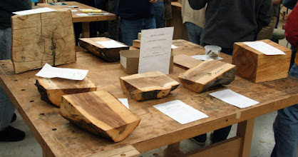 Photo: A nice Silent Auction, providing woods of many shapes and types for those who need it.  This is one of our very nice resources and benefits for our members.