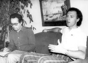 Photo: Beckenbauer es entrevistado por Amado Moreno en el sur de Gran Canaria
